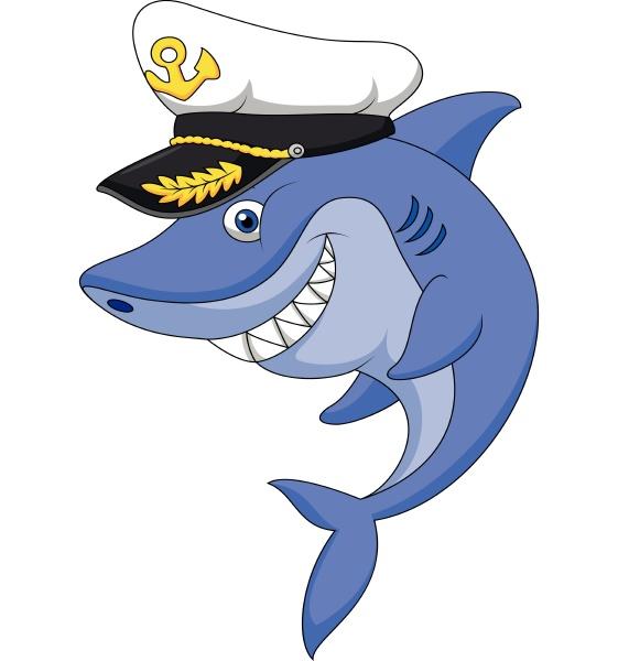 cute shark captain cartoon