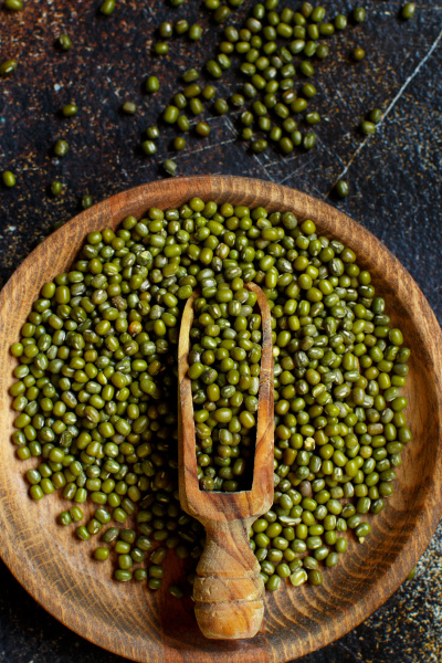 dried mung beans with a spoon