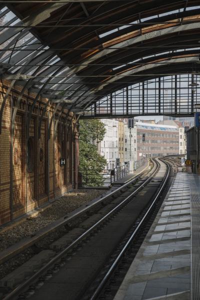 railway tracks of a metro line
