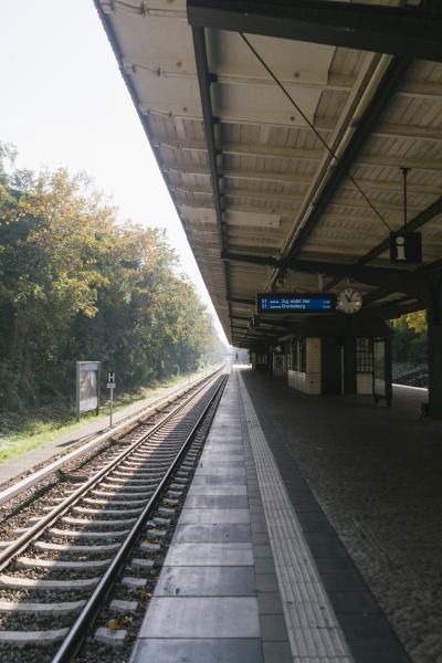 empty railway station in autumn berlin