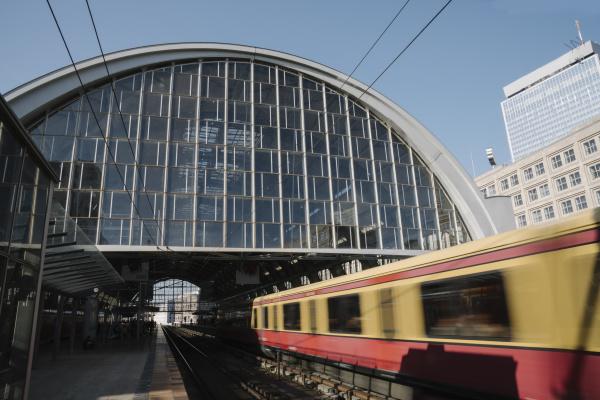 train station at alexanderplatz with suburban