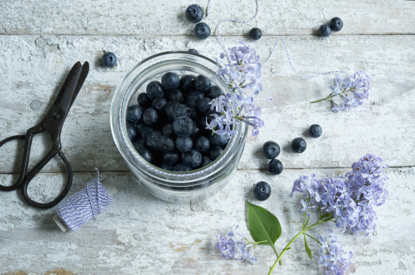 directly above shot of blueberries in