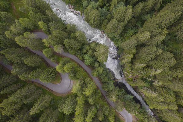 aerial view of a waterfall and