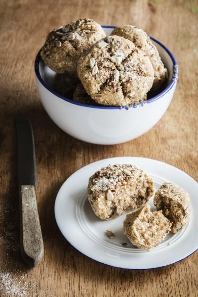 freshly baked rye buns with muesli
