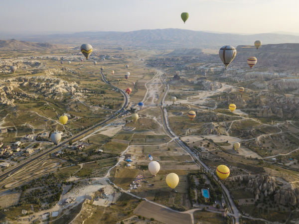 aerial view of colorful hot air