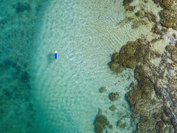 aerial view of surfer sumbawa