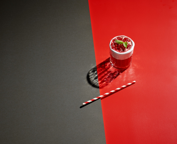 high angle view of pomegranate drink
