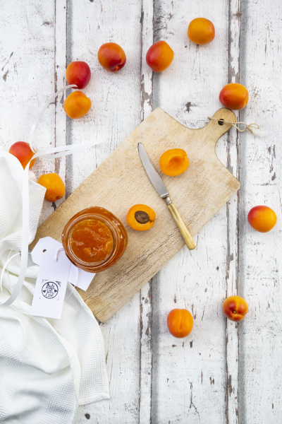 directly above shot of apricot jam