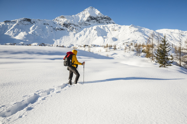 hiking with snowshoes in the mountains