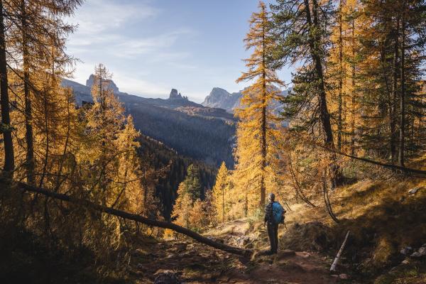 hiker enjoying dolomites in autumn