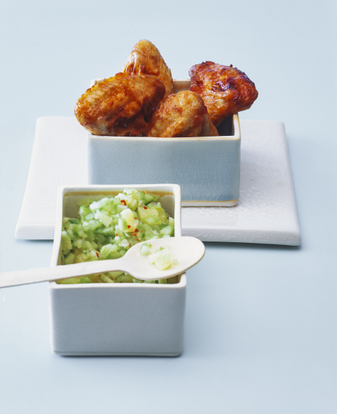 roasted chicken wings with cucumber pineapple