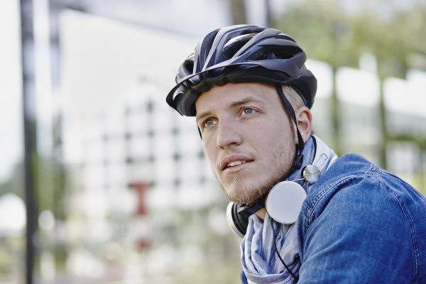 portrait of student with cycling helmet