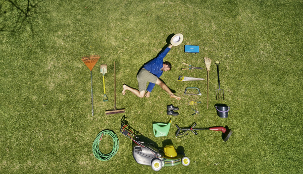 view from above of a gardener