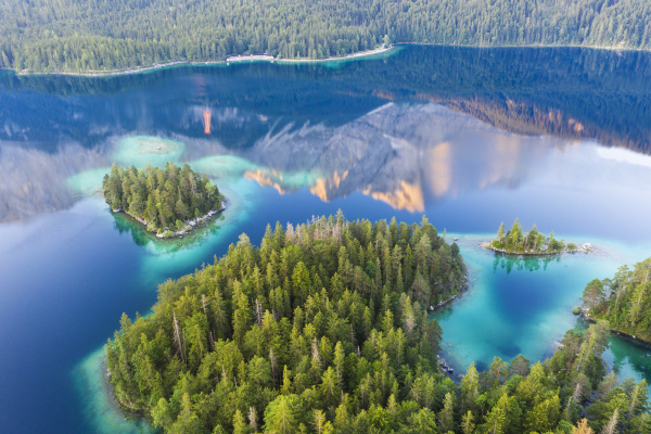 scenic view of eibsee with reflection