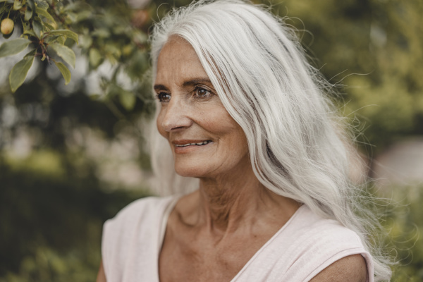 portrait of a beautiful white haired