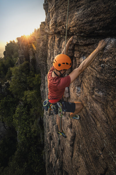 man climbing at battert rock at