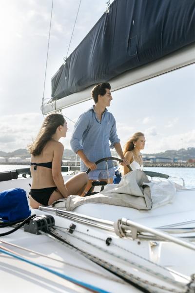 three young friends enjoying a summer