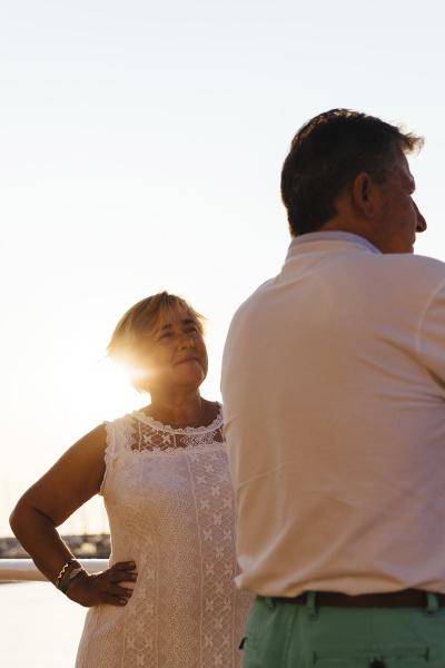 senior couple outdoors at sunset