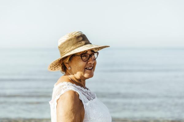 portrait of content senior woman at