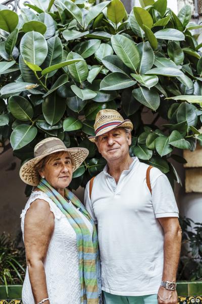 portrait of senior couple with leaf