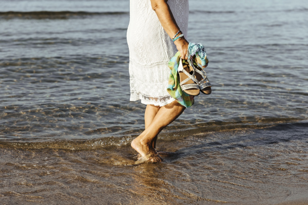 close-up, of, senior, woman, wading, in - 28052759
