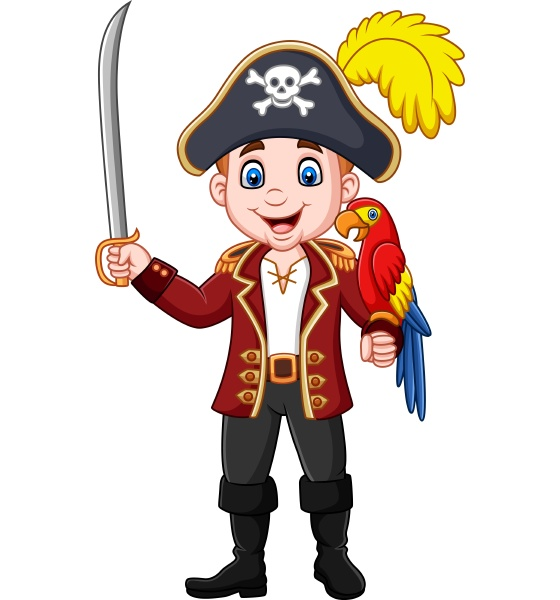 cartoon pirate captain holding sword with