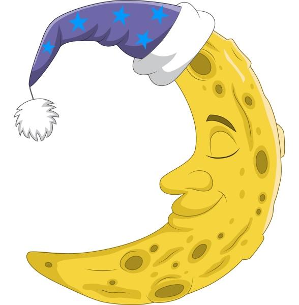 cute crescent moon using sleeping cap