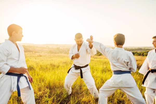 junior karate fighters with master skill
