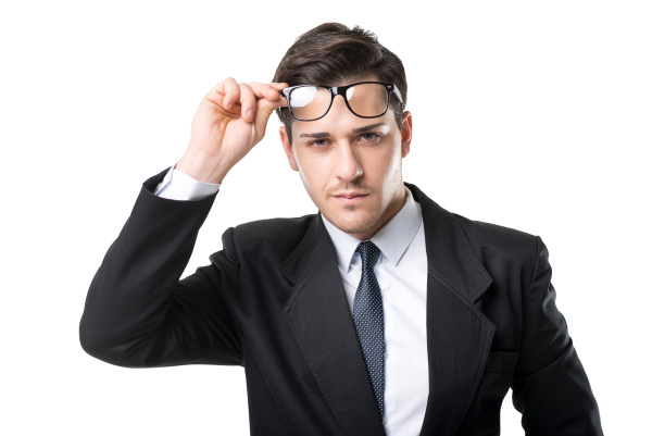 young businessman in glasses tie