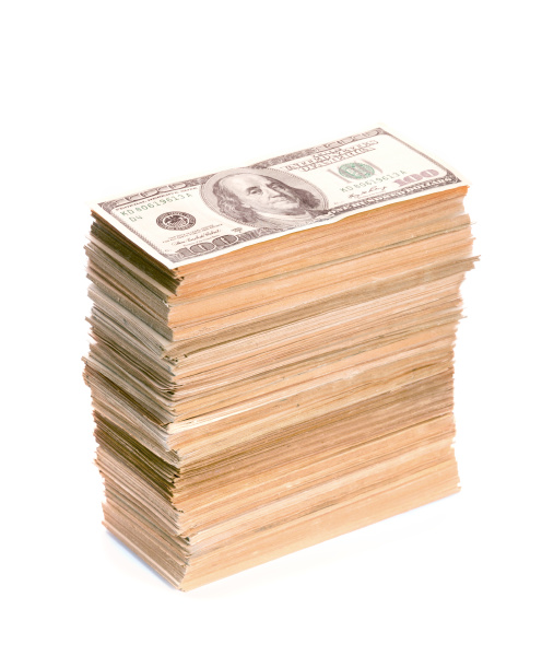 big stack of dollar banknotes
