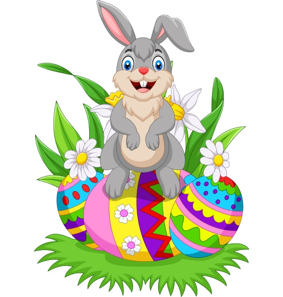 cartoon happy bunny with colorful easter