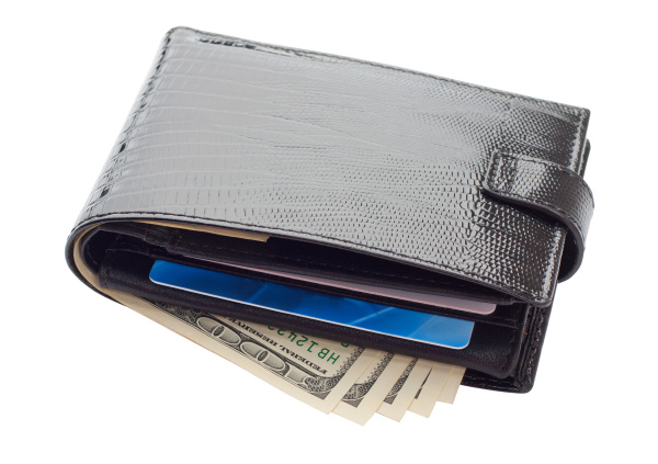 black leather wallet with cards and
