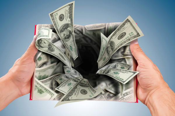 hole of dollars banknotes