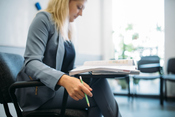 woman in suit in business office