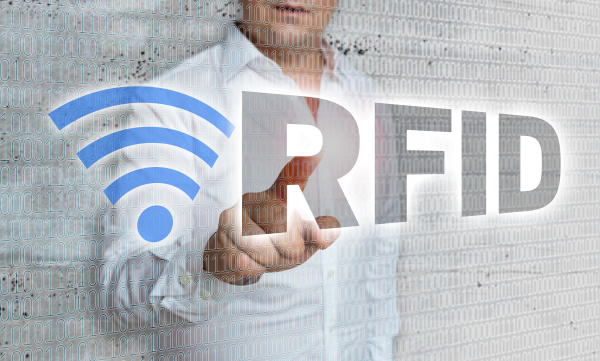 rfid with matrix and businessman concept