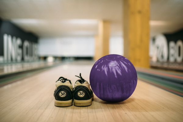 bowling ball and house shoes on