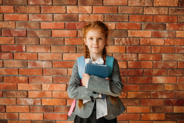 cute, schoolgirl, with, schoolbag, holds, textbooks - 28076335
