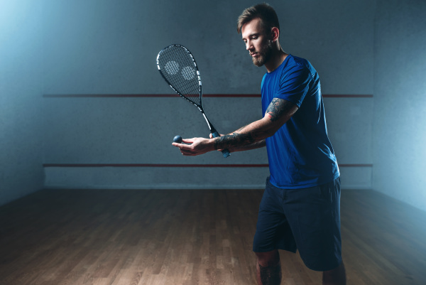 male, squash, player, training, on, indoor - 28076486