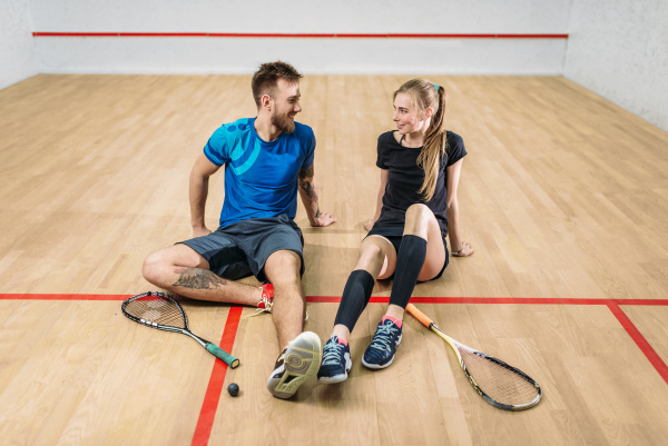 squash, game, concept, , young, couple, , rackets, - 28076580