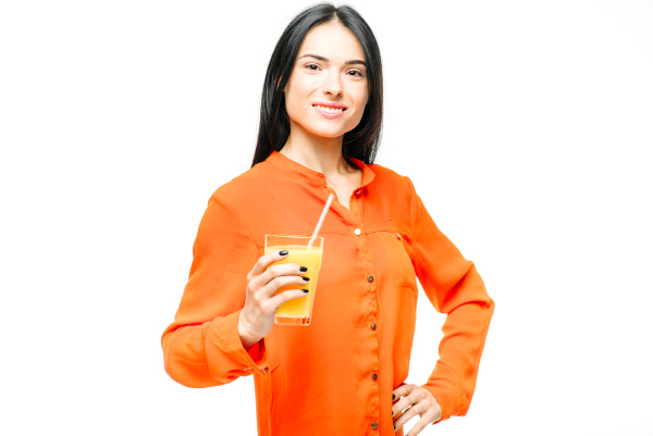 woman, drinks, orange, juice, , white - 28076848