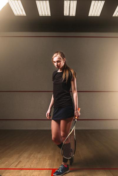 woman, with, squash, racket, , indoor - 28076736