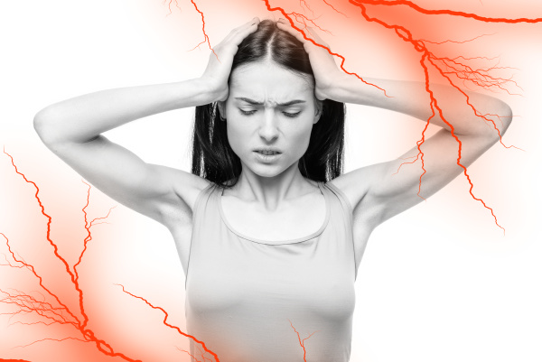 woman, with, temples, pain, , headache, , nerve - 28076767