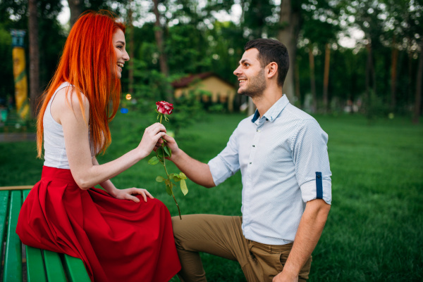 young, man, gives, flower, to, woman - 28077829
