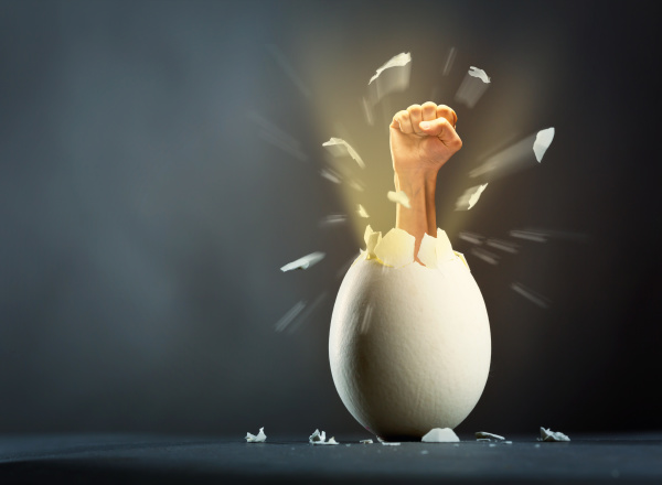 broken egg with hand isolated on