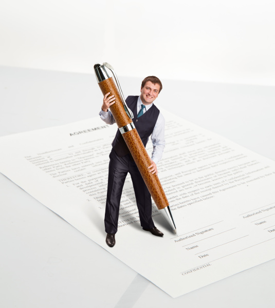 man with a big pen