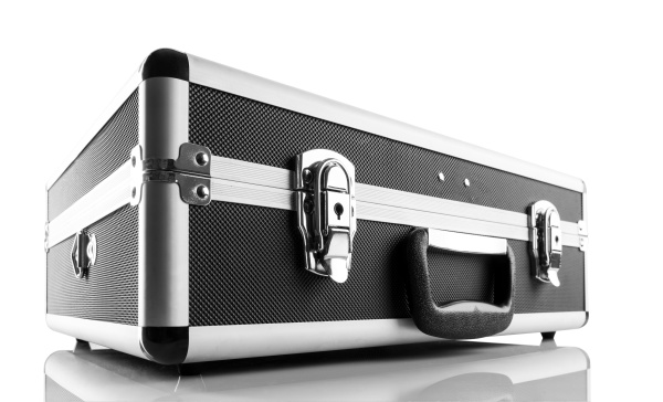 metal briefcase isolated on white background