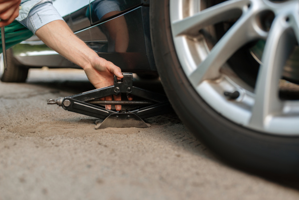 car breakdown male person repairing