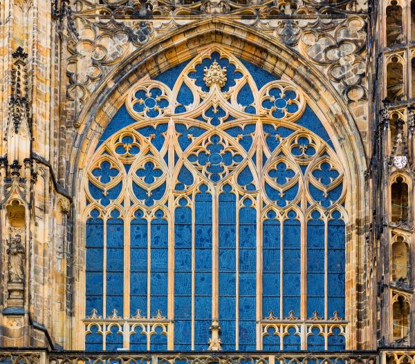 building facade with blue window european