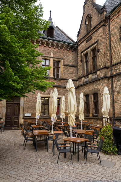 street cafe in ancient european town