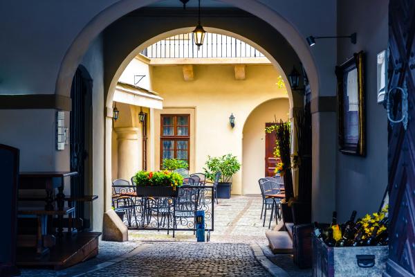 sidewalk cafe in the courtyard european